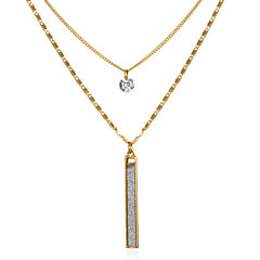 Mixit Womens Clear Cubic Zirconia Strand Necklace