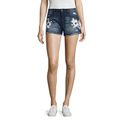 Rewash Floral Paint Fray Hem Shorts-Juniors