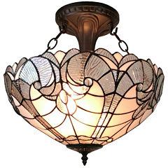 Amora Lighting AM216HL16 Tiffany style semi flushmount ceiling fixture 16 in wide