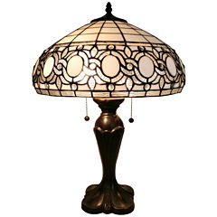 Amora Lighting AM235TL16 Tiffany Style White TableLamp 24 inches