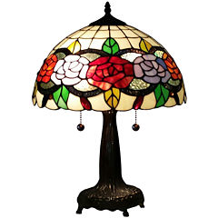 Amora Lighting AM032TL14 Tiffany Style Floral 20-inch Table Lamp