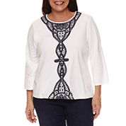 Alfred Dunner Uptown Girl 3/4 Sleeve Crew Neck T-Shirt-Plus
