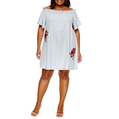a.n.a Short Sleeve Embroidered Swing Dresses-Plus