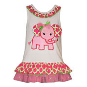 Bonnie Jean® Sleeveless Coverall Dress - Baby Girls 12m-24m
