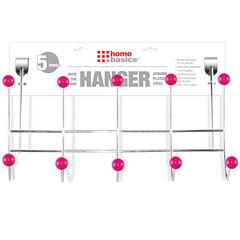 Home Basics Over-the-Door 5-Hook Chrome Hanging Rack