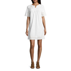 St. John's Bay Elbow Sleeve A-Line Dress