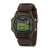 Casio® Illuminator Mens Brown Nylon/Leather Strap Sport Watch W94HF-3AVOS