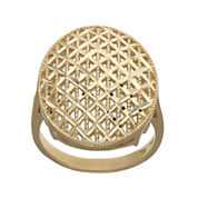 14K Yellow Gold Oval Mesh Ring