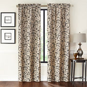 Saratoga 2-Pack Flocked Rod-Pocket Curtain Panels