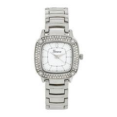 Geneva Womens Square-Face Silver-Tone Bracelet Watch