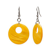 Mixit™ Yellow Shell & Silver-Tone Round Drop Earrings
