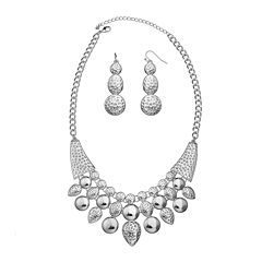 Bold Elements™ Silver-Tone Hammered Bead Necklace & Earring Set