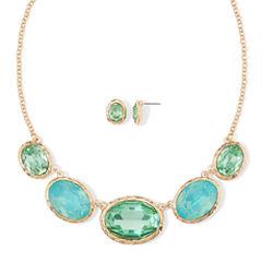 Monet® Aqua Gold-Tone Collar Necklace & Earring Set