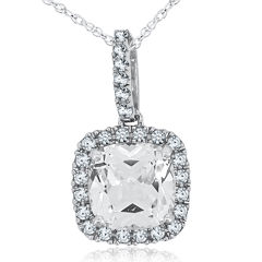 Lab-Created White Sapphire Sterling-Silver Pendant Necklace