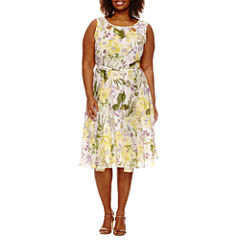 Danny & Nicole Sleeveless Floral Belted Fit & Flare Dress-Plus