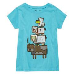 Short Sleeve Crew Neck T-Shirt-Big Kid Girls