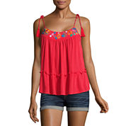 Arizona Tassel Tie Tank Top-Juniors