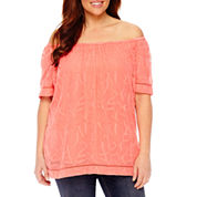 St. John's Bay Short Sleeve Scoop Neck Blouse-Plus