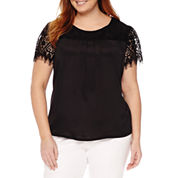 Worthington Short Sleeve Crew Neck Knit Blouse-Plus