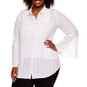 Worthington® Long Bell Sleeve Button Front Shirt - Plus
