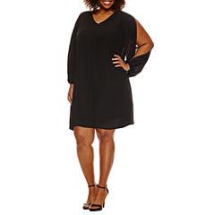 Worthington® Cold Shoulder V-Neck Shift Dress - Plus