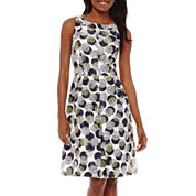 Black Label by Evan-Picone Sleeveless Dot Print Fit and Flare Dress