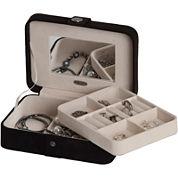 Mele & Co. Giana Black Plush Fabric Jewelry Box w/ Lift-Out Tray