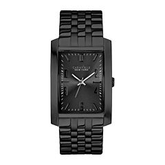 Caravelle New York® Mens Rectangle Case Black Ion Stainless Steel Watch 45A117