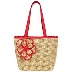 St. John's Bay Straw Flower Tote Bag
