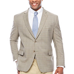 Stafford Year-Round Stretch Brown Blue Check Sport Coat-Big and Tall