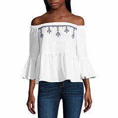 a.n.a 3/4 Sleeve Square Neck Woven Blouse-Talls