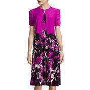 Danny & Nicole® Short-Sleeve Abstract Floral Bolero Jacket Dress