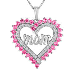 Lab-Created Pink & White Sapphire Sterling Silver Mom Heart Pendant Necklace