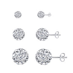 Sparkle Allure 3-pc. Multi Color Sterling Silver Earring Sets