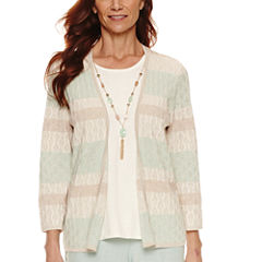 Alfred Dunner 3/4 Sleeve Crew Neck Layered Sweater