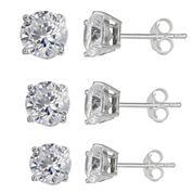 Silver Enchantment™ Cubic Zirconia Sterling Silver 3-pr. Stud Earrings