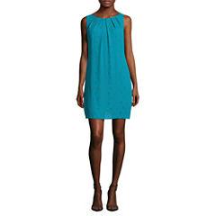 Worthington® Sleeveless Pleat Neck Shift Dress