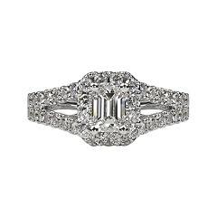 LIMITED QUANTITIES 1½ CT. T.W. Emerald-Cut Diamond Split-Shank 14K White Gold Engagement