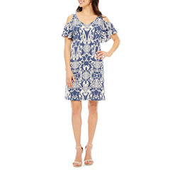 Msk Short Sleeve Shift Dress