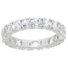 Womens White Topaz Sterling Silver Band
