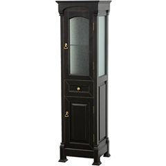 Wyndham Collection Andover Bathroom Linen Tower with Cabinet Storage in Black