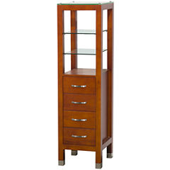 Wyndham Collection Tavello Linen Tower with GlassShelving and 4 Drawers