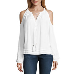 nicole by Nicole Miller Cold Shoulder Tassle Top