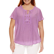 Claiborne Short Sleeve Flutter Sleeve Solid Peasant Top Plus