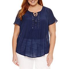 Liz Claiborne Short Sleeve Flutter Sleeve Peasant Top Plus