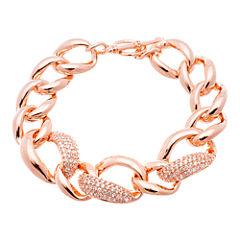 18K Rose Gold Over Brass Cubic Zirconia Link Bracelet