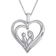 1/10 CT. T.W. Diamond Mom Heart Pendant Necklace
