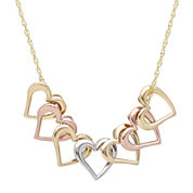 14K Tri-Tone Gold Heart Pendant Necklace