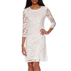 Tiana B. 3/4-Sleeve Lace Trapeze Dress - Tall