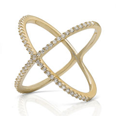 Cubic Zirconia 14K Yellow Gold Over Silver